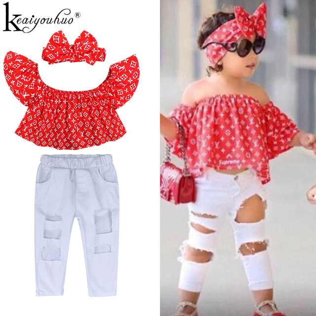 2020 Baby Girl Clothes Summer Tracksuit For Children Clothing Girls Sets T-shirt+Broken Hole Jeans Kids Clothes 1 2 3 4 5 6 Year 2