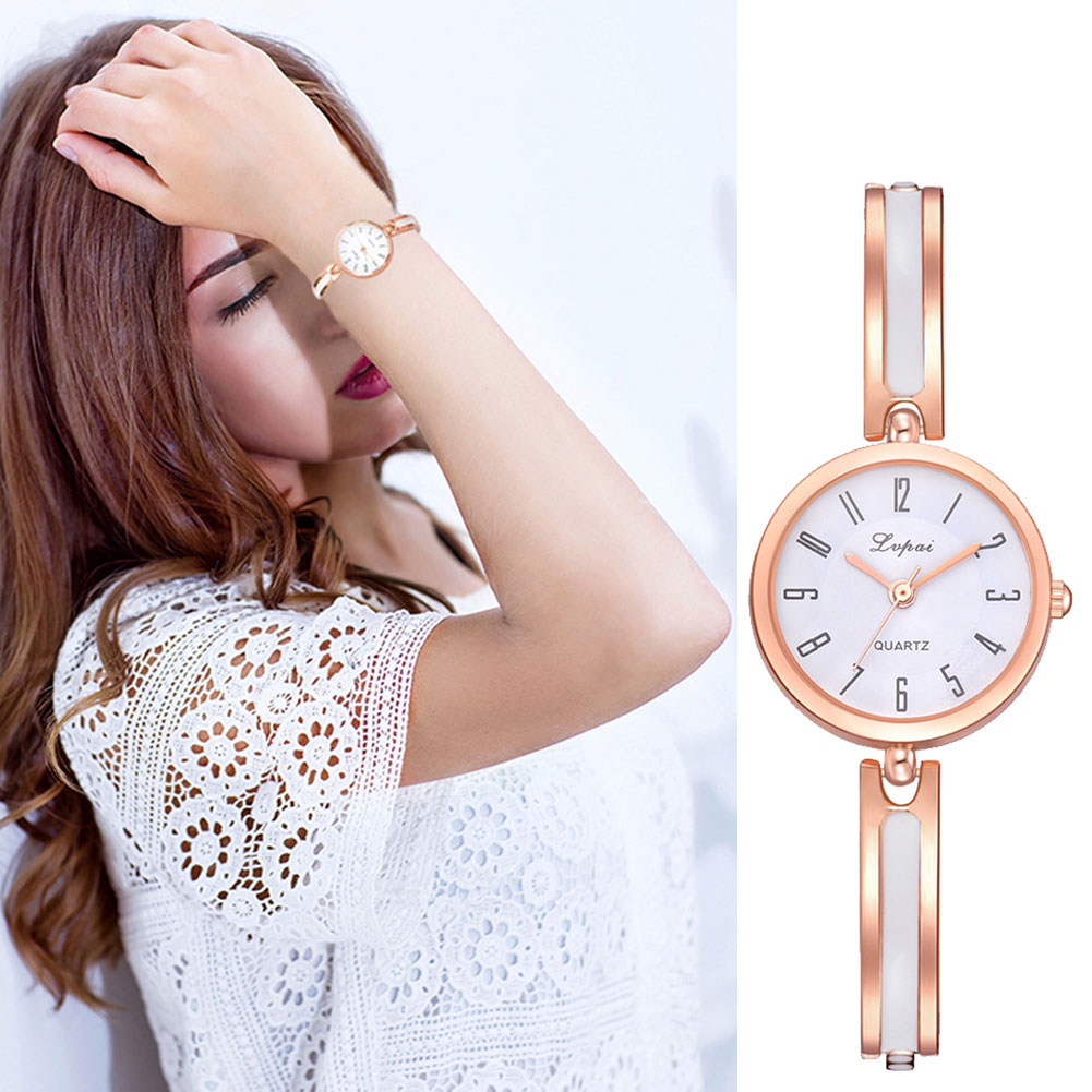 Women Classic Quartz Wrist Watch with Thin Alloy Strap Exquisite Watch LXH