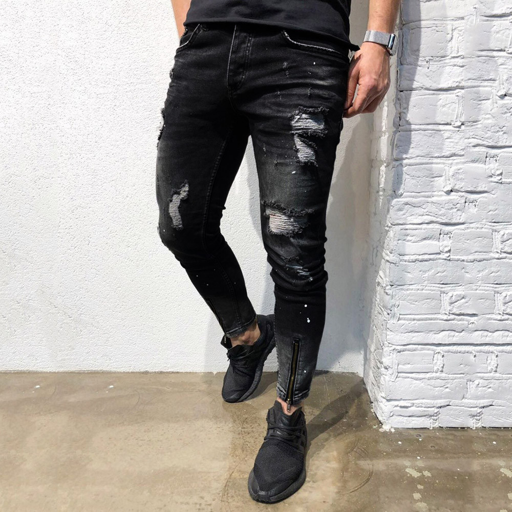 slim fit men jeans bottoms Men...