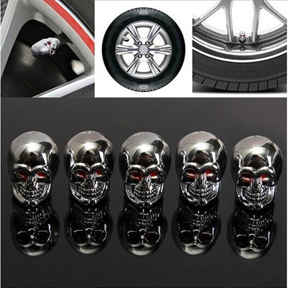 4pcs Fashion Skull Tyre Air Valve Stem Caps Dust Cover For Bike Car Truck