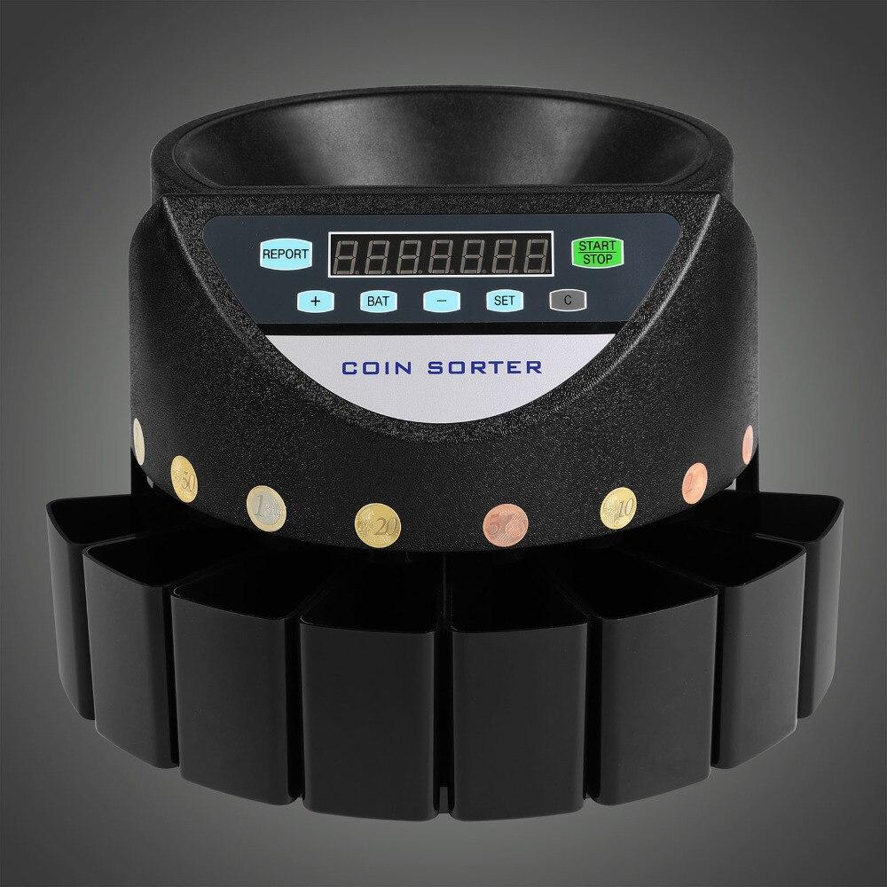 Trieur automatique d'argent électronique et compteur de pièces de monnaie comptant la Machine de comptage de monnaie pour les pièces en euros