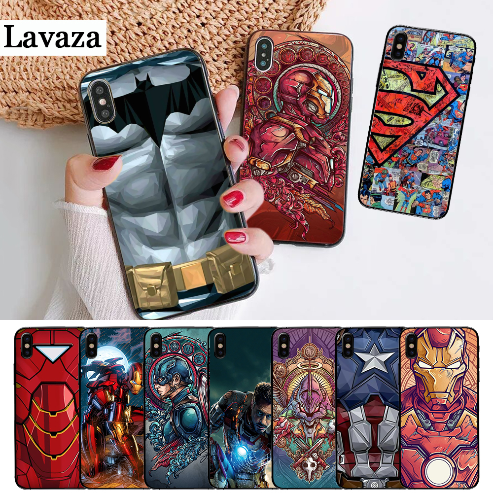 Lavaza Marvel Captain America Iron Man Heroes Silicone Case for iPhone 5 5S 6 6S Plus 7 8 11 Pro X XS Max XR in Half wrapped Cases from Cellphones Telecommunications