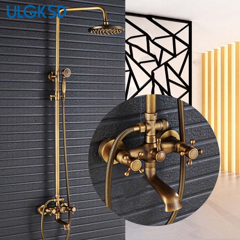 цена ULGKSD Antique Brass Shower faucet 8 Inch Shower Head Bathroom Shower Set Extension Tube Bar + Handheld shower sprayer