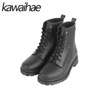Round Toe Women Boots Rain Shoes Ankle Martins Female Waterproof Rainboots Rubber Shoes Kawaihae Brand Martins