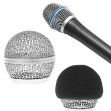 OOTDTY Replacement Ball Head Mesh Microphone Grille With Sponge Cover For Shure BETA58 BETA58A SM58S