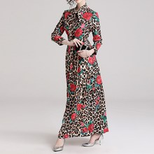 Women Elegant Leopard Long Dress Sleeve Rose Print Empire Bow Tie Collar Vintage