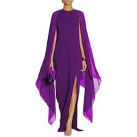 YJSFG HOUSE Women Chiffon Patchwork Evening Party Dress Sexy Elegant Cloak Sleeves Long Maxi Dress 2017 Ladies Formal Robe Black