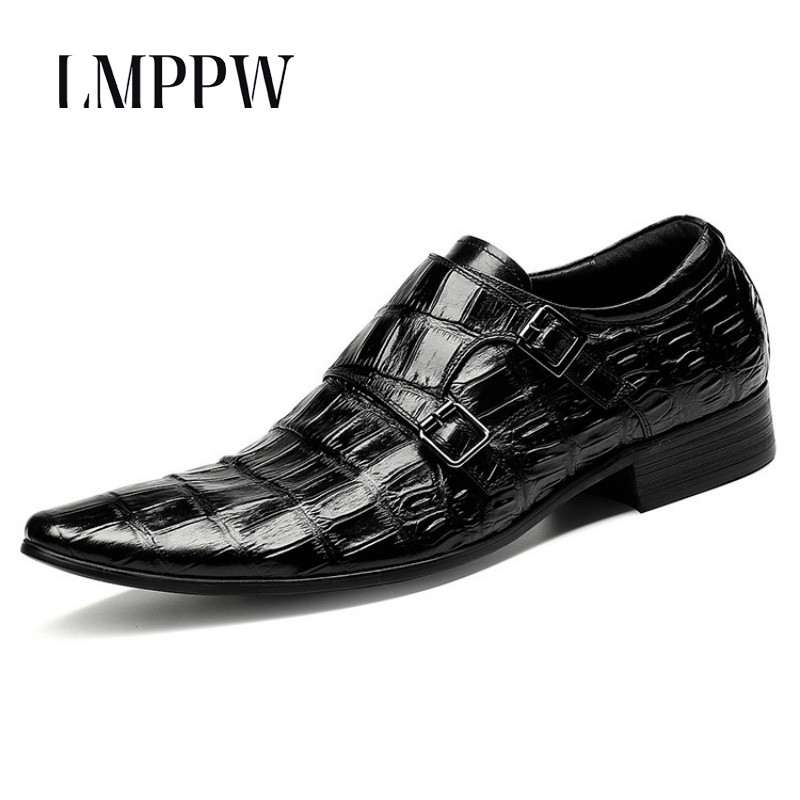 Italian Men Red Wedding Shoes Genuine Leather Brogue Shoes Luxury Brand Breathable Formal Shoes with Buckle Dress Oxford Shoes 8