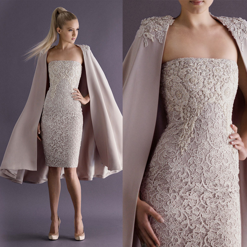 2016 Elegant Strapless Lace Formal Party Gown Cocktail