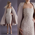 2016 Elegant Strapless Lace Formal Party Gown Cocktail Dresses with Long Coat Special Occasion Dress Sheath Custom Made