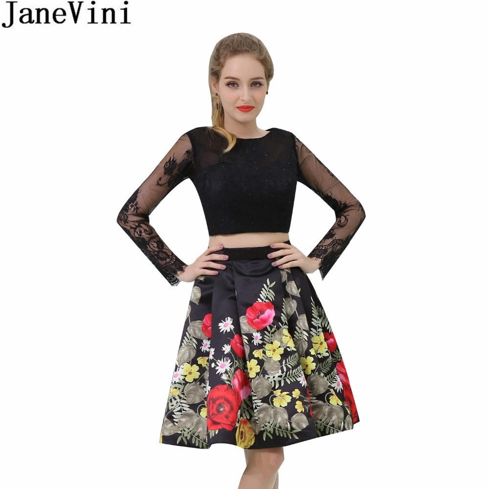 JaneVini Arabic Black Floral Prom   Dress   Lace Long Sleeve Short   Bridesmaid     Dresses   2 Piece Pearls Flowers Floral Print Party Gown