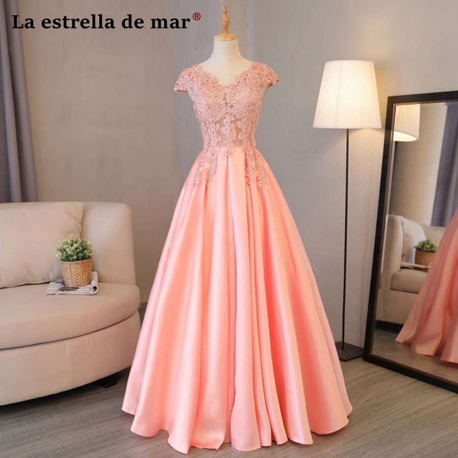 Maid of honor   dresses   for weddings 2019 new lace cap sleeve A Line peach pink   bridesmaid     dresses   long vestido madrinha hot sale