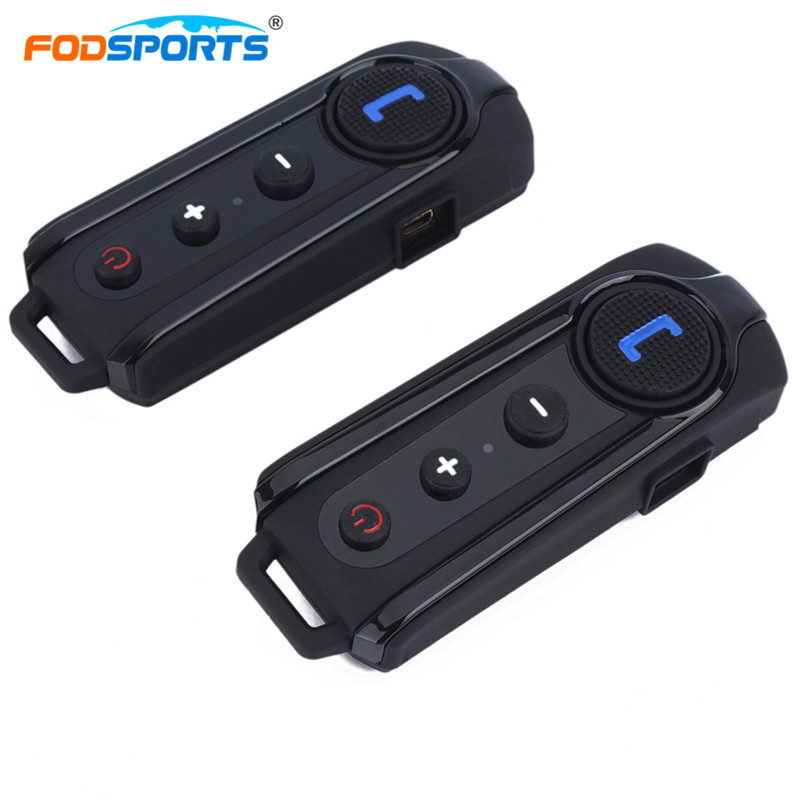 2 pcs Fodsports BT-S1 Intercom Helmet Headsets Motorcycle Full Duplex Speak Interphone Bluetooth Wireless Stereo Music With FM 2pc freedconn t comvb 800m motobike wireless bt interphone earphones full duplex motocycle bluetooth helmet intercom headset fm