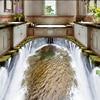 Beautiful Waterfall Water Washroom Bathroom Bedroom Living Room 3D Floor Tiles 3D Waterproof Self Adhesive Wallpaper