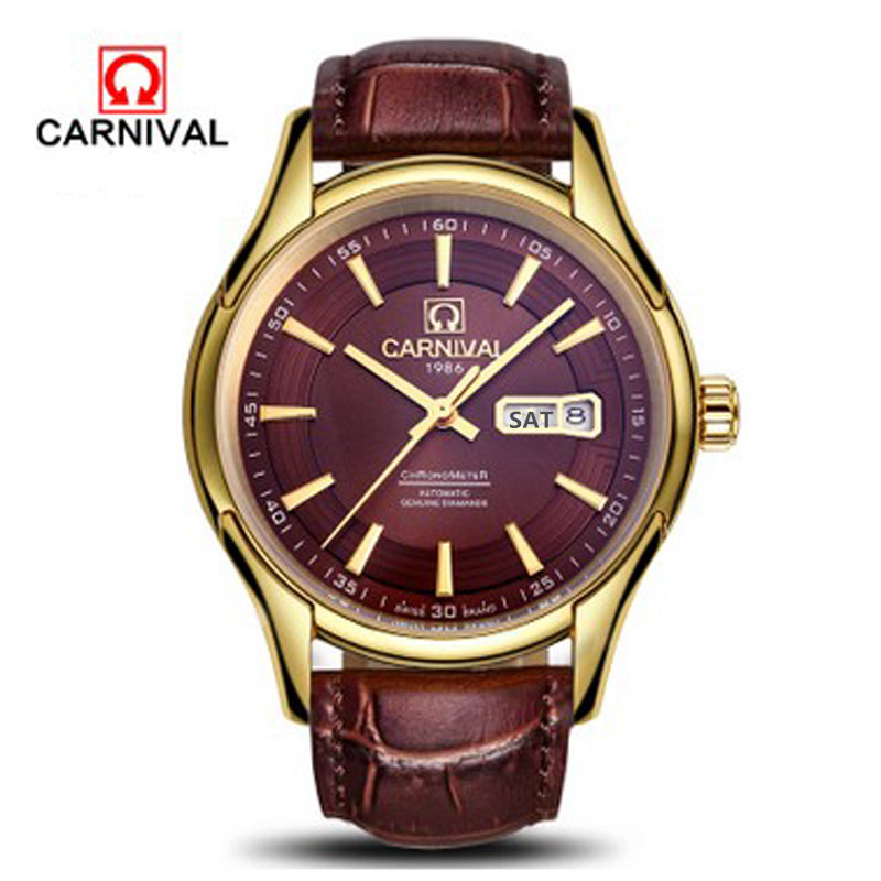 2016 Carnival military automatic mechanical famous brand watches men full steel waterproof luxury leather watch vintage relogio skmei 6911 womens automatic watch women fashion leather clock top quality famous china brand waterproof luxury military vintage