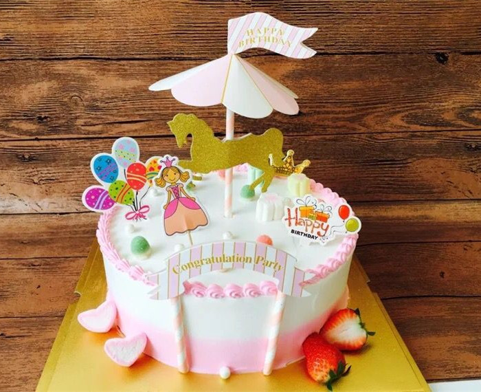 New Merry Go Round Happy Birthday Party Cake Topper Kids Birthday