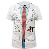 Men Women Funny Cosplay Costume Doctor 3D T Shirt Tee Summer Doctor Uniform Prints Tshirts Male