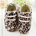 Sapatos de Bebê leopardo Infantil Sola Macia Sapatos Lace-Up Sapatos de Pano Crianças