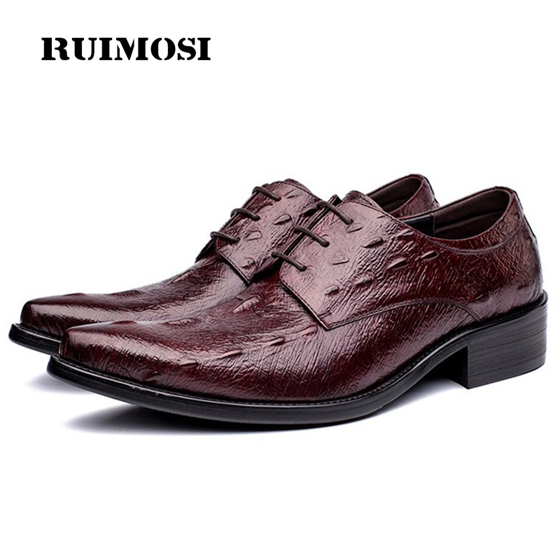 RUIMOSI Luxury Brand Pointed Toe Man Formal Dress Shoes Genuine Leather Runway Oxfords Derby Men's Bridal Wedding Flats GD21