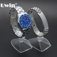 Charm Popular Fashion Hiphop Male Bracelet Luxurious Silver Sapphire Blue Watch Stainless Steel Watch Chain Birthday