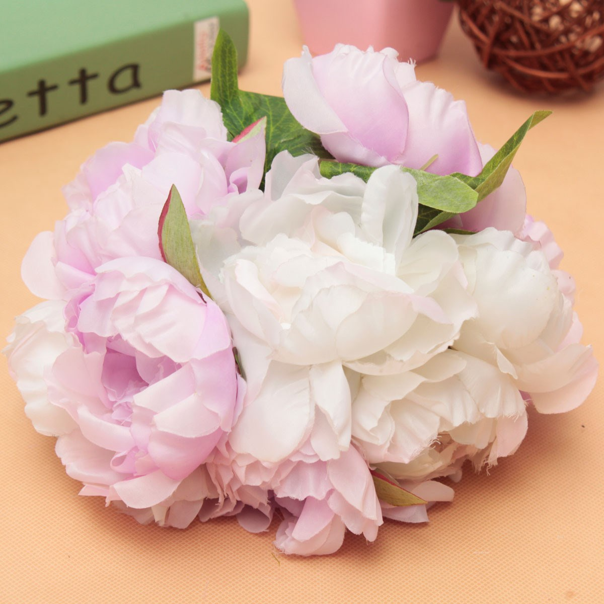 Online Shop Artificial Silk Flower Peony Wedding Bouquet Bridal