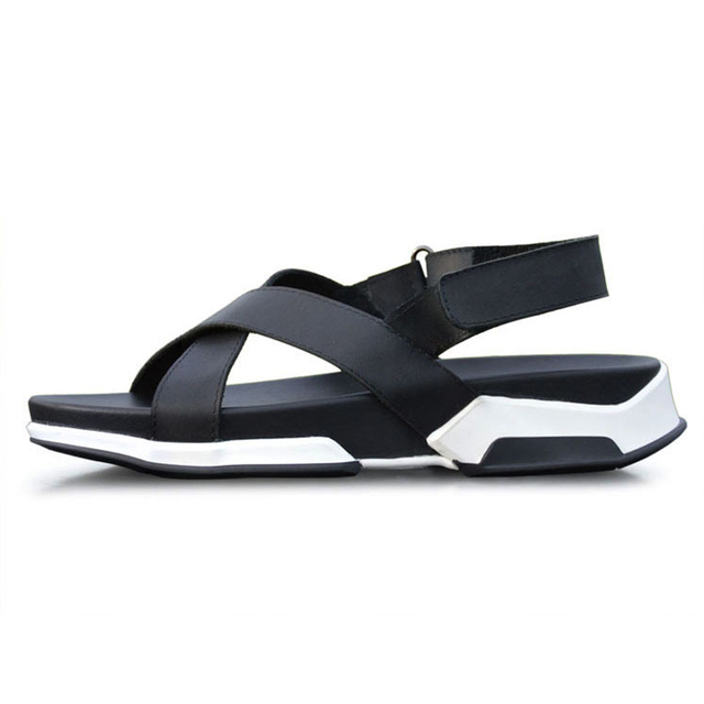 Wedge sandals summer beach white sandals mens sandals genuine leather sandals men cross strap casual thick heels men shoes