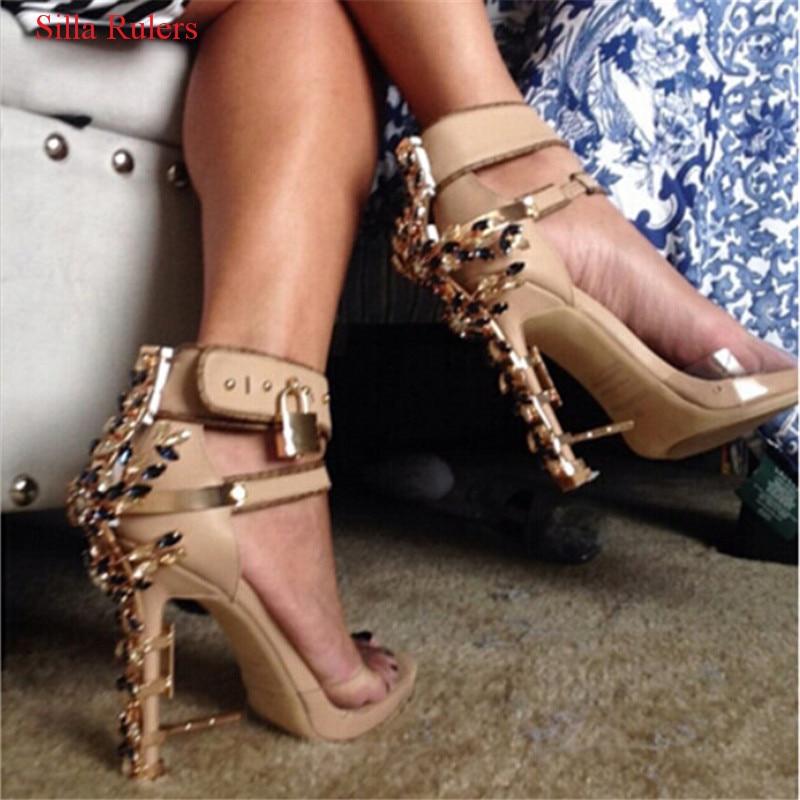 Luxury Design Rhinestone Lock Doniamd Women Sandals Crystal High Heels Gladiator Sandals Women Shoes Woman Sandalias Botas Mujer excellent design sandalias femininas tassels sandal summer shoes fashion design high heels gladiator womens sandals shoes