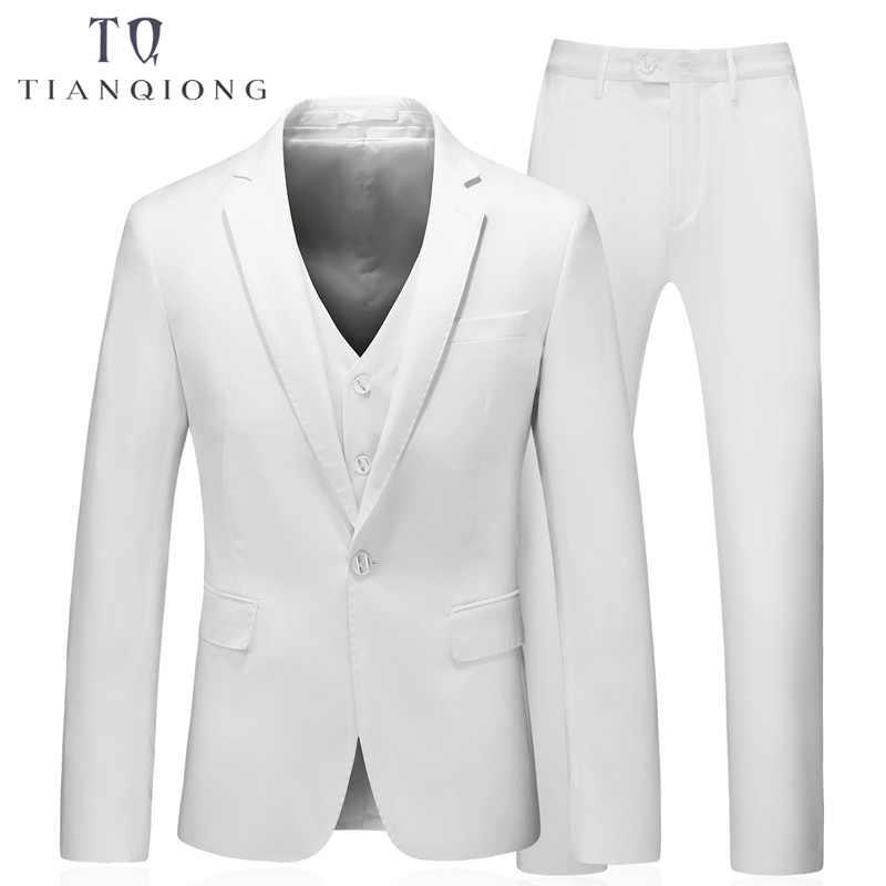 白 4 ピーススーツ男性韓国のファッションビジネスメンズスーツデザイナー 2018 スリムフィットの結婚式のスーツジャケット + ベスト + パンツ + ネクタイ
