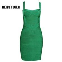 DEIVE TEGER new fashion WINTER dress  2016  Woman Bandage Spaghetti Strap Club Party Mini Dress 16 Colors vestidos  HL737