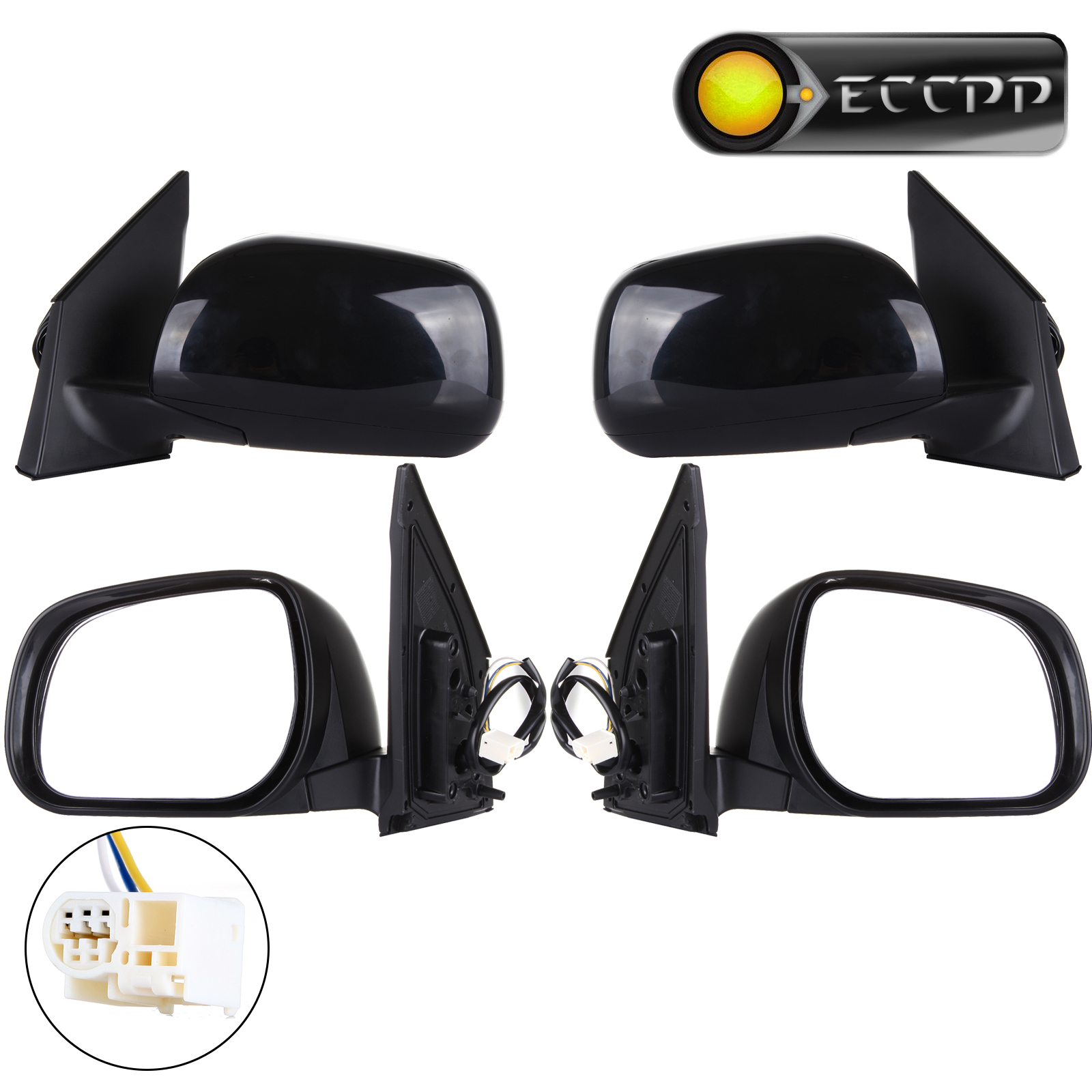 Eccpp power driver and passenger side view mirrors left right rear view mirror pair set for 2006 2008 toyota rav4 rav 4