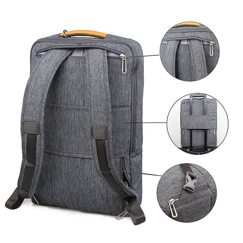 Gearmax portátil mochilas para 15,6 de 17,3 pulgadas/azul/Color gris de lona impermeable Mochila De Cuero genuino de la bolsa para Macbook portátil - 4