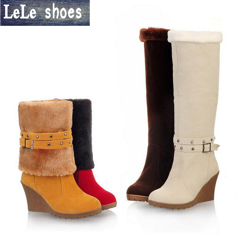 LELE Winter Women Thigh High Boots High Heels Wedges Shoes Big Size 34-43 Short Boot Plush Suede Leather Ladies Platform Boots women high heels big