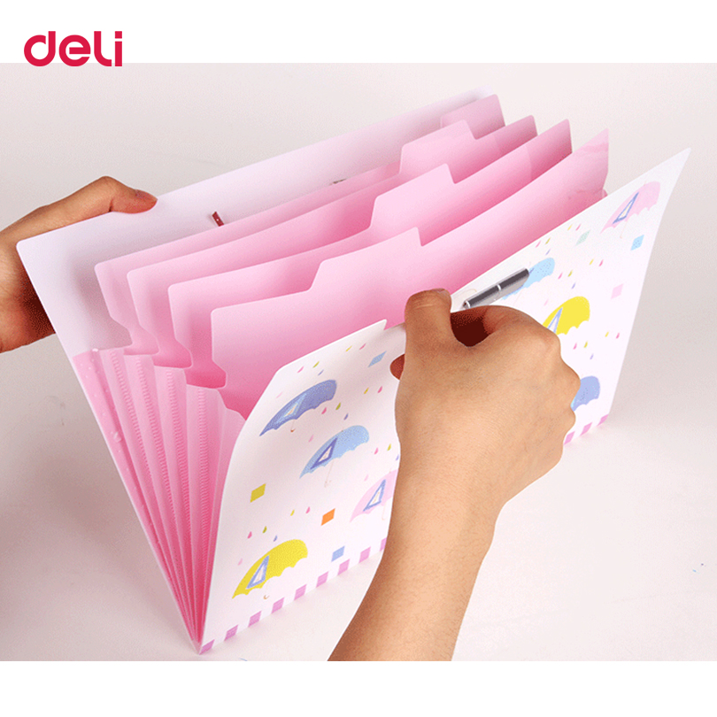 Deli Cute Statioenry Expanding Wallet For Business Waterproof Brisk Portable School Supplies Stationery Document PP Bag Folder deli a4 folder 8 grids portable multi layer paper bag information package expanding wallet document bag school office supplies