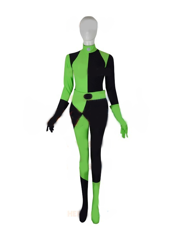 Wonder woman Kim Possible Shego Costume Super Villain Halloween Costume Lycra Spandex Woman/Girls/Lady Cosplay Adults Bodysuit