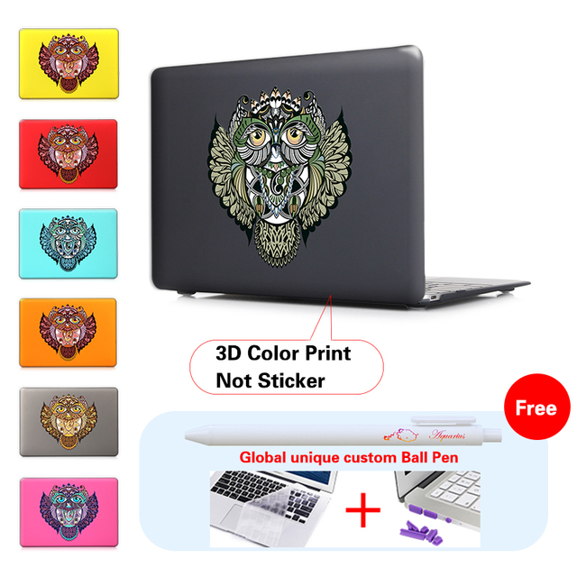 Unique Owl Totem Pattern Cover Shell For Print Case Mac Book Pro 13.3 15.4 Retina For Macbook Air 11 13 New Retina 12 inch