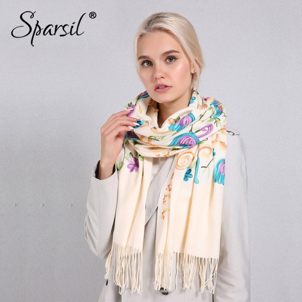 Sparsil Women Floral Embroidery   Scarves   Autumn Winter Cashmere Long Soft Tassel Pashmina Tulip Flowers   Wraps   200*70cm   Scarf