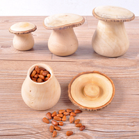 Creative Wood Original Ecological Storage Box Lovely Mushroom Shape Environmental Nuts Storage Box 3 Sizes With Lid