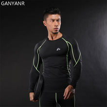GANYANR Running T Shirt Men Basketball Gym Sportswear Sport Fitness Compression Jogging Exercise Tights Rashgard quick dry Tee
