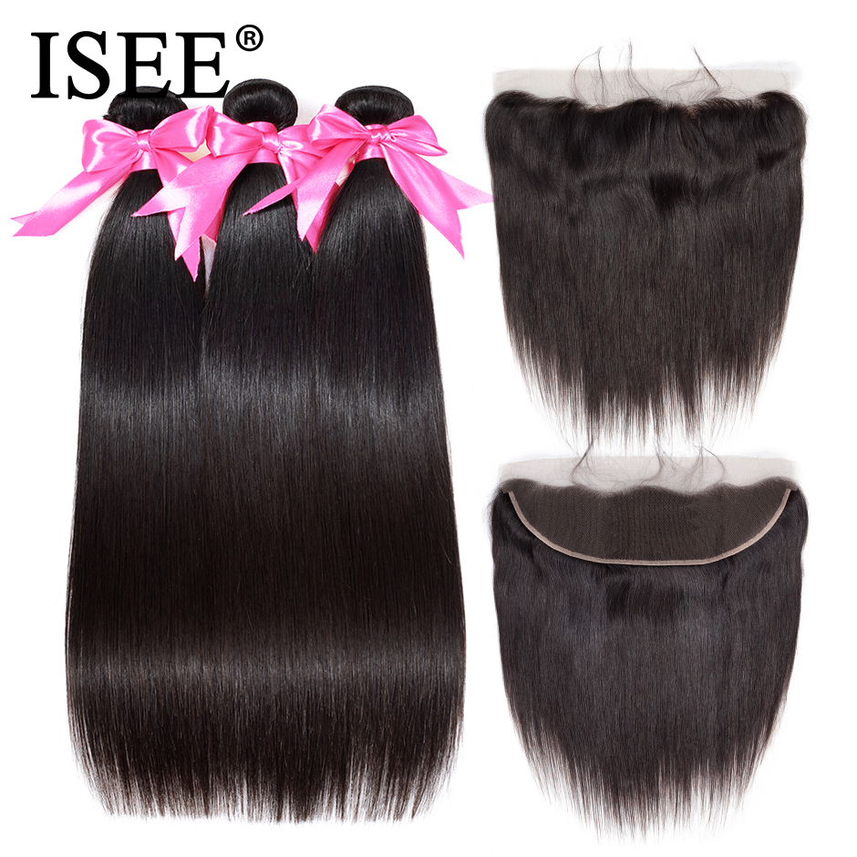 ISEE 3 Bundles Straight Hair Bundles With Frontal Remy Malaysian Human Hair Bundles With Closure 13*4 Pre Plucked Lace Frontal