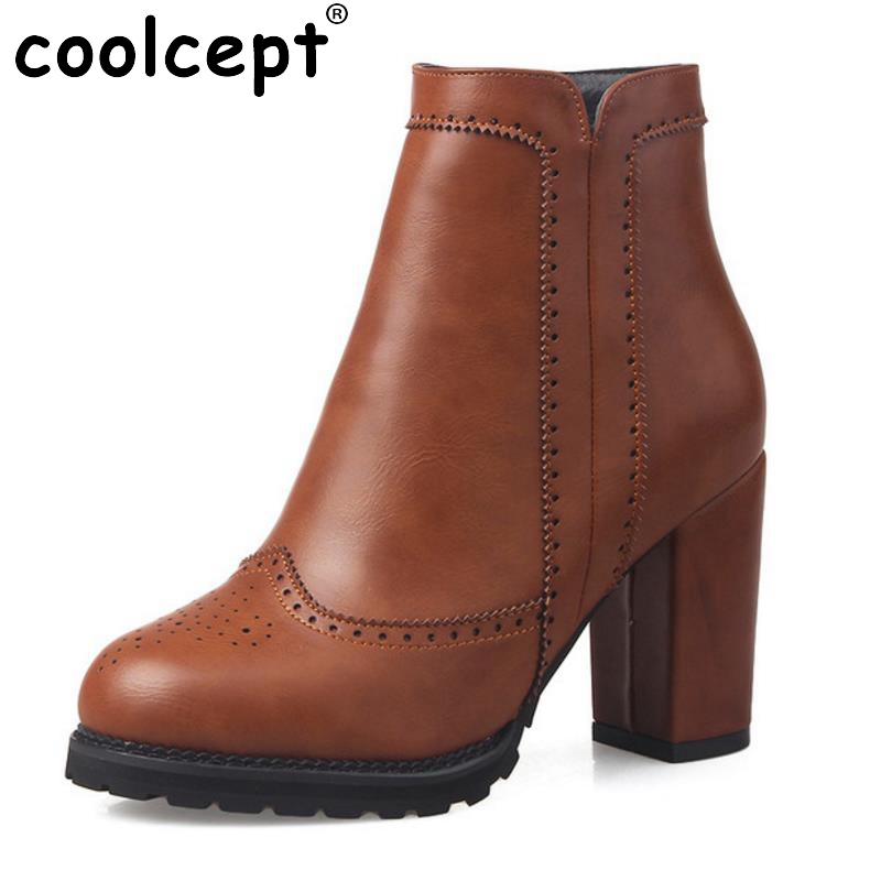 ФОТО Women Round Toe Platform Ankle Boots Gladiator Woman Thick High Heel Shoes Ladies Fashion Zipper Heels Bootines Mujer Size 33-43