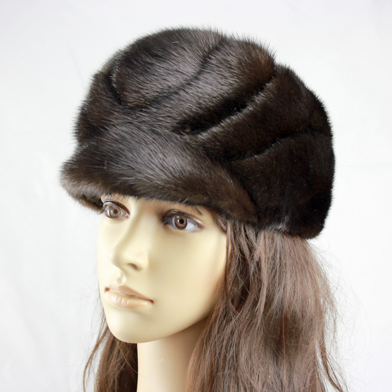 Luxury Handmade Russian Women Real Mink Fur Visor Hats Female Winter Warm Caps Fashion Headgear LF4283