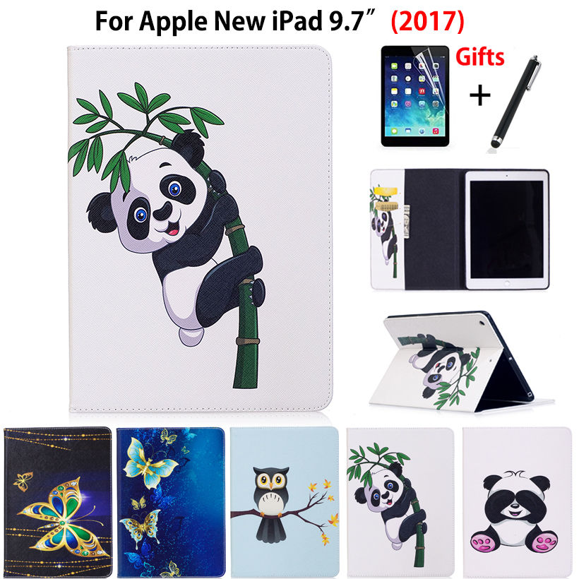 Case For Apple iPad 9.7 2018 2017 Smart Case Cover A1822 Funda Tablet Fashion Panda Owl Pattern PU Leather Stand Shell+Film+Pen