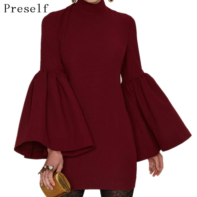 Preself Dresses Sexy Hollow Out Back Flare Sleeve Mini Dress Sheath Knitting Women Girls Vestidos Party Fashion Wine Red Color