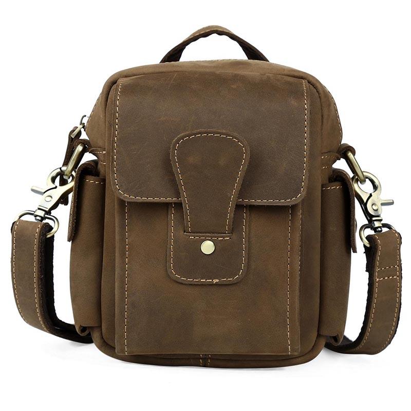 TIDING Leather Shoulder Bag Satchel Pouch For Men Small Cross Body Messenger Waist Fanny Bag 3107 casual canvas satchel men sling bag