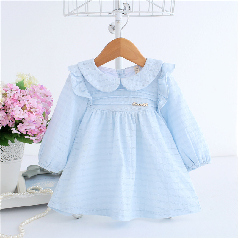 2018 Spring A-line Peter Pan Collar Kids Baby Princess Dress Newborn Infant Baby Girls Party Dresses Baby Clothes 0-2T 2 Color make my day нагрудник baby bib peter pan collar