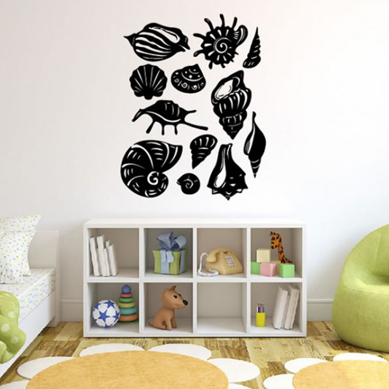 All Kinds Of Sea Shell Wall Stickers Home Decor Removable