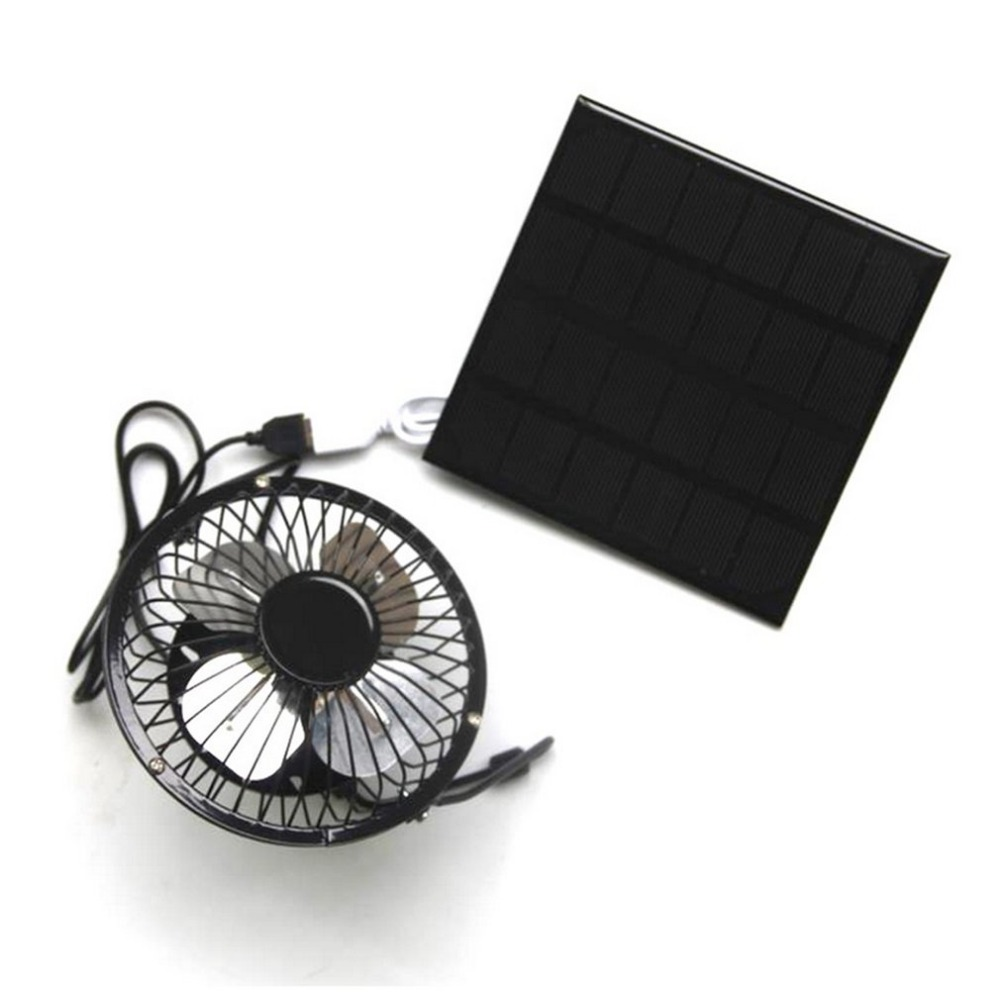 ourdoor 3w 6v solar panel powered fan portable usb fan 4 inch cooling fan ventilation for. Black Bedroom Furniture Sets. Home Design Ideas