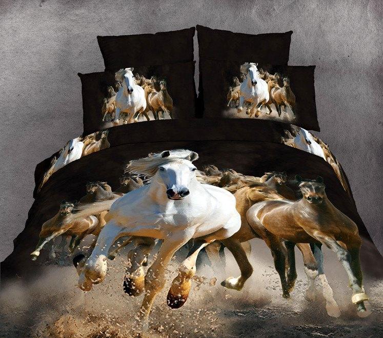 Hot Beautiful 100% Cotton 4pc Doona Duvet QUILT Cover Set bedding set Full / Queen King size animal horse - jiagen chen's store