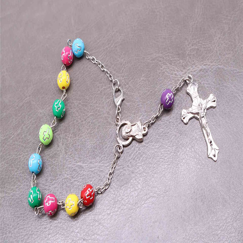 48 Pieces Religious Silver Line Cross Rosary Gift Multicolor Crystal Cross Beads Rosary Bracelet Children s