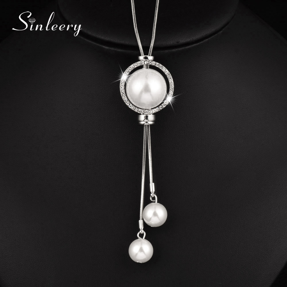 Elegant Rhinestone Circle Long Necklace For Women Silver Color Simulated Pearl Tassel Pendant Adjusted MY048 SSH